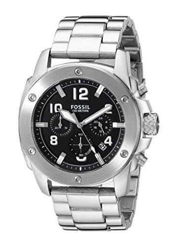 Fossil FS4926 – Reloj para hombres, correa de acero inoxidable color plateado