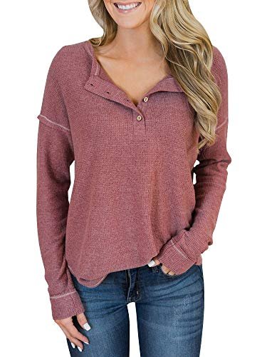 Womens Henley Shirts V Neck Long Sleeve Button Down Tops Knit Warm Tunic Tees