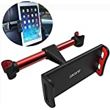 Car Headrest Mount, Lecone 360° Rotated Vehicle Seat Back Stand Bracket Holder Racket for 4.4''- 11'' Smartphones, Tablets, Kindle Fire, Nintendo Switch (Black & Red)