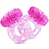 Vibrating Penis Ring & Cock Ring - 2-Pack Male Enlargement Rings with Clitoris Stimulator Vibrator - Adults Sex Things & Sexy Toys for Men - Women & Couple