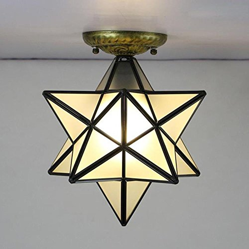 HAIXIANG Industrial Black Copper Moravian Star Ceiling Light Clear Glass Shade 1---Light Fixture (Mailbox Small Copper)