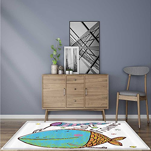 Rug Easy to Clean, Durable Kids Cute Large Fish Holding Flag
