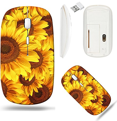 Liili Wireless Mouse White Base Travel 2.4G Wireless Mice with USB Receiver, Click with 1000 DPI for notebook, pc, laptop, computer, mac book Sunflower field Beautiful large yellow background Image ID