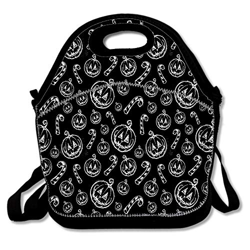 Halloween Pumpkin Face Cane Hand Drawn Painting Bags For Men Women Adults Kids Toddler Nurses With Adjustable Shoulder Strap - Neoprene Lunch Tote]()