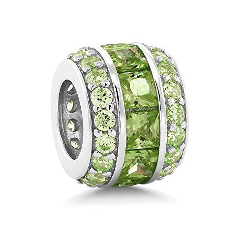 Green Silver Charms (Sterling Silver Green Cubic Zirconia 12X9MM Bead Charm Compatible W/ Pandora Bracelets)
