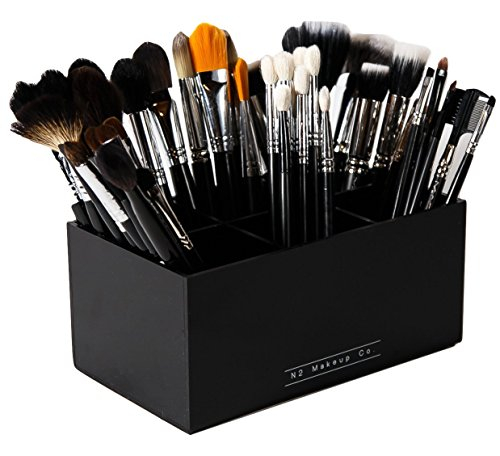 Makeup Brush Holder Organizer - 6 Slot Acrylic Cosmetics Brushes Storage Solution By N2 Makeup Co (Most Expensive Makeup Product In The World)
