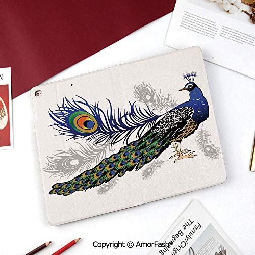 Peacock Decor Galaxy Tab A 8.0 2015 Model Case,SM-T350 Case,PU Leather Folio Stand Case,Male Peacock Feathers Springtime Wilderness Crowned Majestic Animal Pattern Decorative
