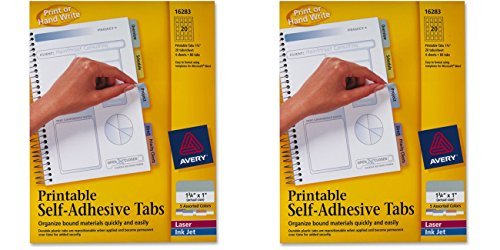 Avery Printable Self-Adhesive Tabs, 80 Tabs, 1.75 inches x 1 inch (16283), 2 Packs