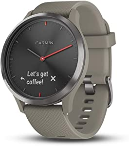 Garmin vivomove HR, Hybrid Smartwatch for Men and Women, Black with Sandstone Silicone Band