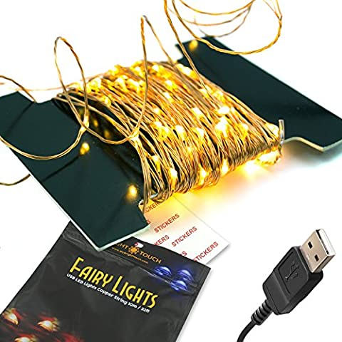 BrightTouch LED Fairy Lights - String, Rope (Warm White)