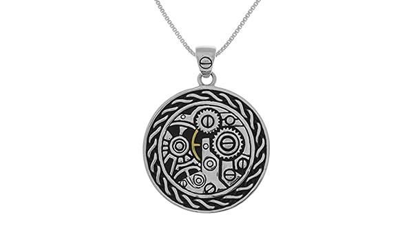 Jewelry Trends Sterling Silver Steampunk Gears Celtic Pendant