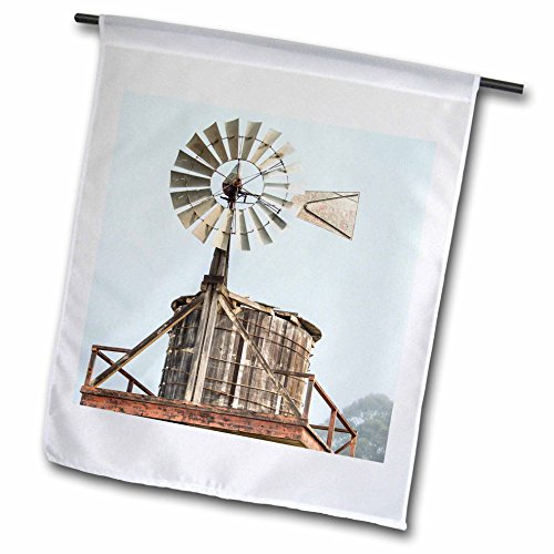 Tower Windmill (3dRose Danita Delimont - Agriculture - California, Cayucos, old wooden water tower with windmill for pumping - 12 x 18 inch Garden Flag (fl_278486_1))