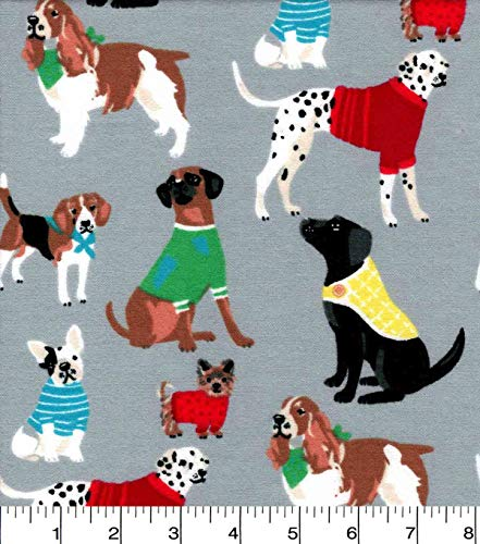 (Flannel Sweater Doggies Fabric Sold by The Yard)