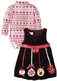 Bonnie Baby Baby Girls' Ornament Applique Corduroy Jumper Set, Red, 12 Months