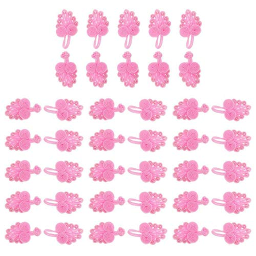 20 Sets Chinese Knot Frog Buttons with Beads Fasteners for Cheongsam Clothes | Color - Pink