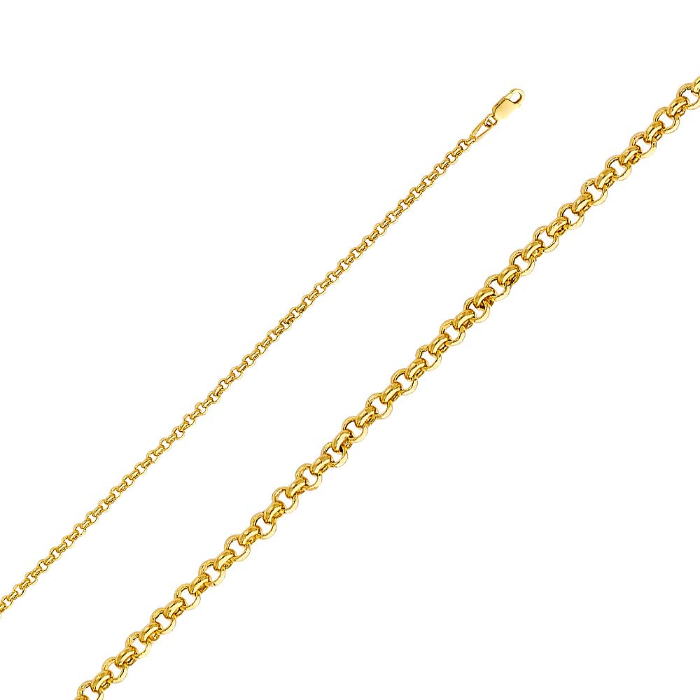 Wellingsale 14k Yellow Gold 3mm Polished Fancy HOLLOW Rolo Chain Necklace with Lobster Claw Clasp - 20''