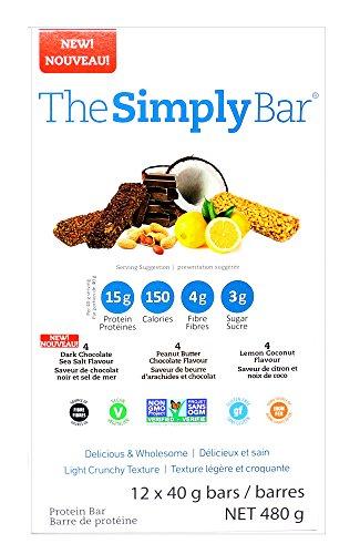 SimplyProtein Bar, Dark Chocolate Sea Salt, Peanut Butter Chocolate, Lemon Coconut, Pack of 12, Gluten Free, Non GMO, Vegan For Sale