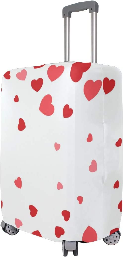 3D Pink Small Big Heart Print Luggage Protector Travel Luggage Cover Trolley Case Protective Cover Fits 18-32 Inch