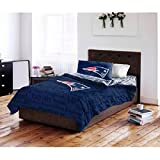 5pc NFL New England Patriots Comforter Full Set, National Football League, Unisex, Fan Merchandise, Team Logo, Red, Blue, Sports Patterned Bedding, Football Themed, Team Spirit