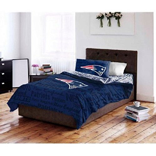 5pc NFL New England Patriots Comforter Full Set, National Football League, Unisex, Fan Merchandise, Team Logo, Red, Blue, Sports Patterned Bedding, Football Themed, Team Spirit by DOS