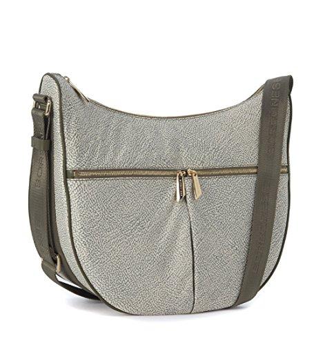 Sac à bandoulière Borbonese Luna Bag Mediumen tissu jet vert militaire