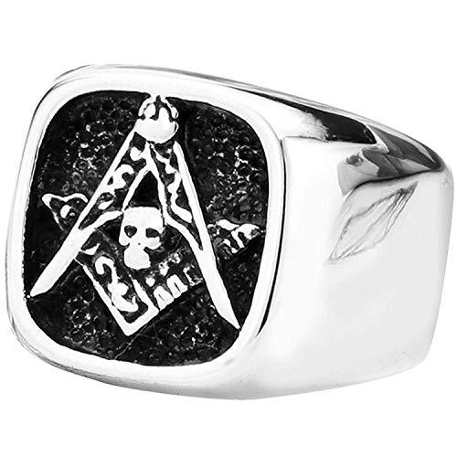 (YABINI Jewelry Men's Vintage Punk Freemason Masonic Skull Stainless Steel Ring Black Silver)
