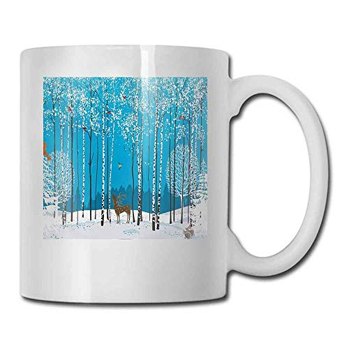 Coffee Mug Christmas Snow Covered Forest with Flock of Bullfinches Squirrels Bunnies Deer Noel Theme For Family and Friend 11 oz Multicolor