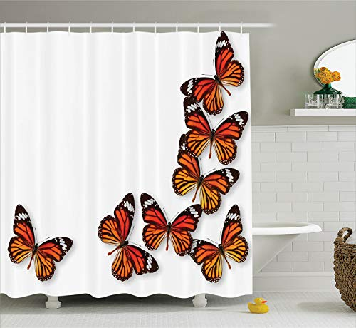 Ambesonne Butterflies Shower Curtain, Monarch Butterfly Figures Flying Frame Insect Exotic Weather, Cloth Fabric Bathroom Decor Set with Hooks, 84 Inches Extra Long, Dark Brown