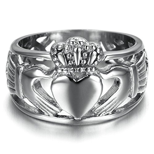 [Bishilin Stainless Steel Trinity Band Wedding Claddagh Ring For His And Hers Size 8] (Red Skull Costume Uk)