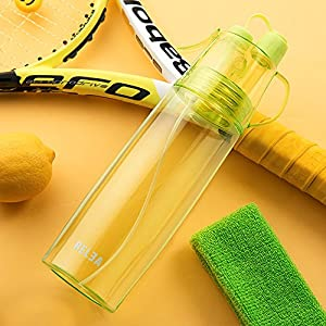 Sport Spray Water Bottle- 580ml Cooling MIST and DRINK - 2 in 1 Water Bottle-Outdoor Sports Spray Water Bottle Environmental Plastic Cup Cooling Water Bottle For Hiking (Green)