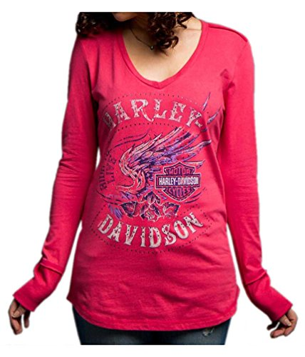Harley-Davidson Women's Loud Skull Wings Long Sleeve V-Neck Shirt 5V37-HD0C (Harley Davidson Usa)