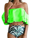 Imily Bela Women's Bikini Ruffle Off Shoulder Top & Floral Shorts Swimsuit Bathing Suit 2pc Sets (XX-Large, Green)