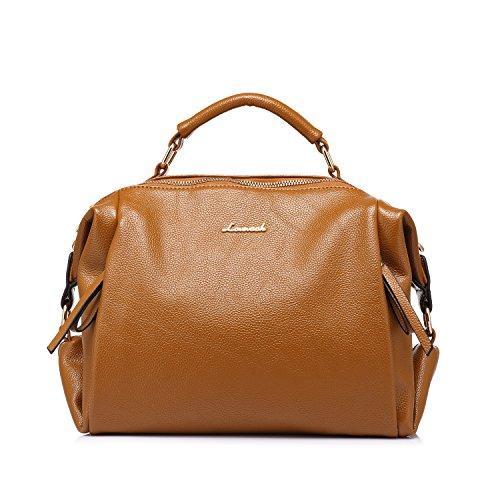 LOVEVOOK Designer Handbag Totes Large Capacity Shoulder Bags for Women Brown (Small Bowler Bag)