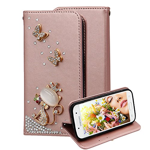 Price comparison product image Leather Case for Samsung Galaxy A5 A510 2016, Aearl [ Screen Protector ] Diamond Bling 3D Wallet PU Flip Cover Book Style Folio Case Stand Card Holder for Samsung Galaxy A5 2016 - Rose Gold Cat