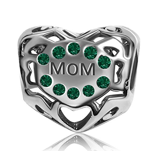 KunBead Engraved Mom Charms for Pandora Bracelet Green Crystal Heart Pendant May Birthstone Beads Birthday Gift for Her Sister Daughter Aunt