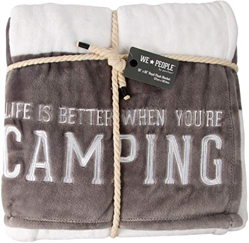 Pavilion Gift Company Life is Better When You're Camping-Gray & White Super Soft 50 x 60 Inch Striped Throw Embroidered Text 50