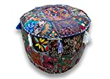 Round Patchwork Embroidered Multi Ottoman Pouf Bohemian Indian Decorative, Size 13 X 16 X 16 Inches