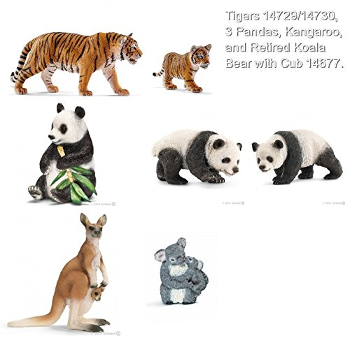 Schleich New Asian Collection of 7 with updated Tigers 13729/13730, Kangaroo, Retired Koala Bear with Cub, and Three (3) Giant Pandas