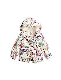 SIN.SE Girls's Winter Graffiti Hooded Outwear Coat