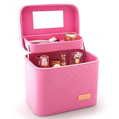 Sooyee Professional Makeup Train Case with Mirror - Cosmetic Studio Box Designed To Fit All Cosmetics Make Up Bag Organizer Train Case for Women (PINK) by Sooyee