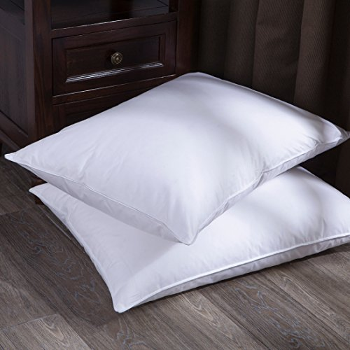 Puredown White Goose Down Feather Bed Pillows for Sleeping Premium 100% Cotton Shell ,Standard/Queen Size, Set of 2