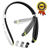 Newest Foldable Bluetooth Headset, Wireless Neckband Sports Headphones with Retractable Earbud, Bluetooth 4.1 Stereo Earphones Built-in Mic for iPhone, Android & Other Bluetooth Devices (White)