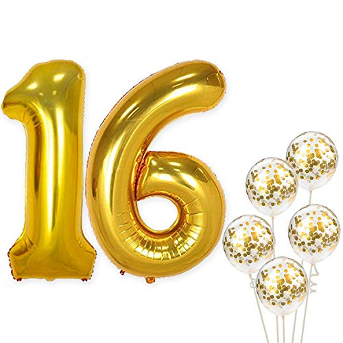 KatchOn Number 16 and Gold Confetti Balloons - Large, 40 Inch Foiil Gold Balloons | 5 Gold Confetti Balloons, 12 Inch | 16th Birthday Party Decorations | Party Supplies for Anniversary Décor ()
