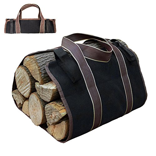 Windyus Large Canvas Log Tote Bag Carrier, Wood Tote Indoor Fireplace Firewood Totes Holders With Handle, Round Woodpile Rack Fire Wood Carriers Carrying Tools Camping Set Basket