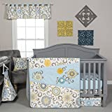 Trend Lab Waverly Baby Pom Pom Spa 4 Piece Crib Bedding Set, Blue/Cream/Green/Gray