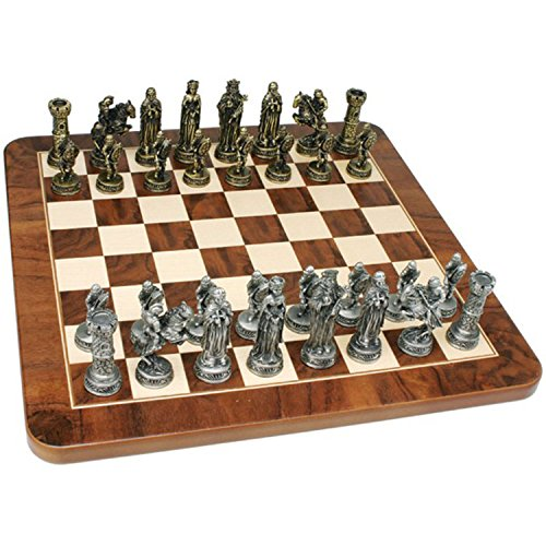 - Wood Expressions WE Games Medieval Chess Set - Pewter Pieces & Walnut Root Board 17 in.