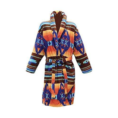 Women's Los Alamos Robe - Native American Print Bath Robe - S/M