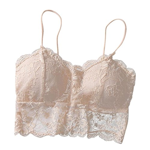 FUNIC Womens Lace Strap Chest Wrapped Wireless Bustier Crop Top Camis Sports Underwear (Free Size, Beige) Front Cheeky Shorts