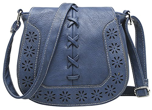 Hollow Women's Crossbody PU Hobo Purse 1 Bag Lacing Shoulder Travel with Sanddle Blue gWzSnxwg