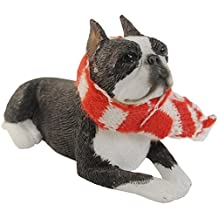 Sandicast Boston Terrier with Red and White Scarf Christmas Ornament